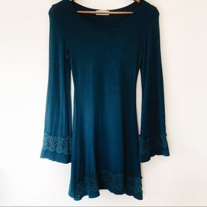 Altar'd State Teal Blue Long Sleeve Lace Dress